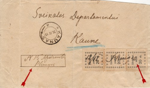 A rare registered cover from Plunge franked with 3x 20sk stamps from the Second Kaunas Issue