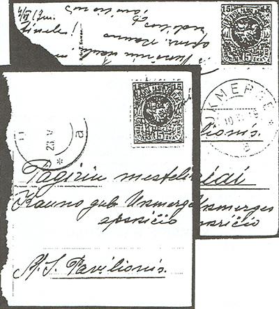 Vieksniai 1919 manuscript cancels