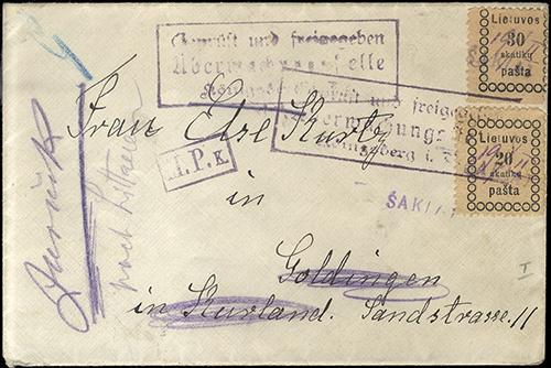 LT-1919-Sakiai one-line cachet MS date ex-Matuzas