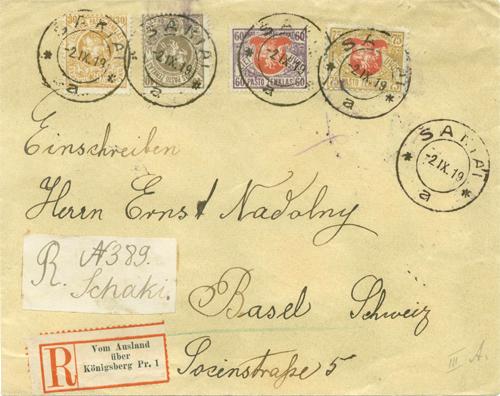 Sakiai 1919 registered cover