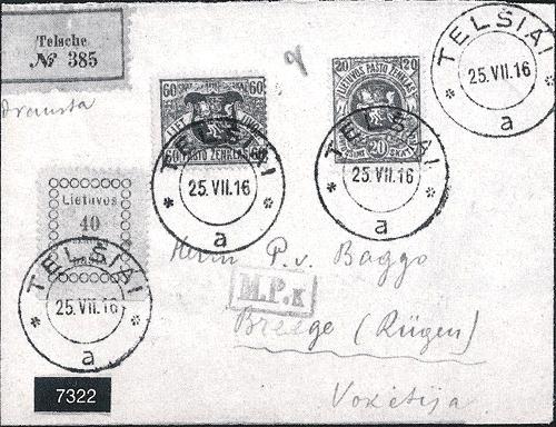 """Telsiai registration registration etiquettes with the inscription """"Telsche"""""""