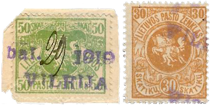 Vilkija 1919 a two-line rubber cachet