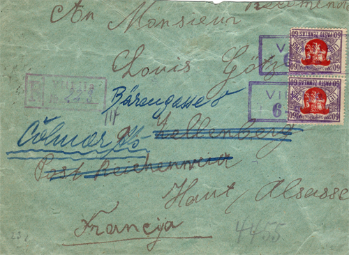 Vilkija 1920 registered cover to USA