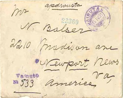 """Vainutas 1921 Registration by two-liner """"Vainuto No"""""""