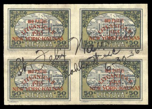 LT-1935-Ovprinted-Oro-Pasta-Vaitkus-signed-block-x4-lot-2373