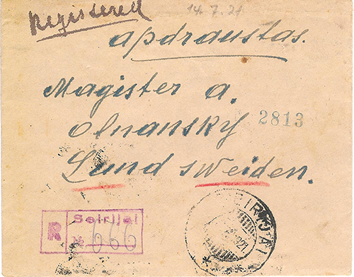 Lithuania Seirijai 1921 registered cover