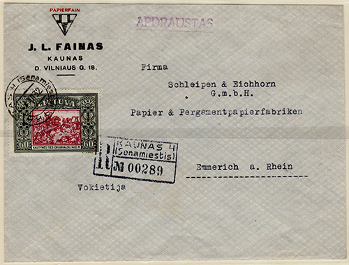 Lithuania 1932 Kaunas to Emmerich on Rhine