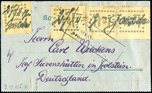 Lithuania 1919 lettercard from Gargzdai