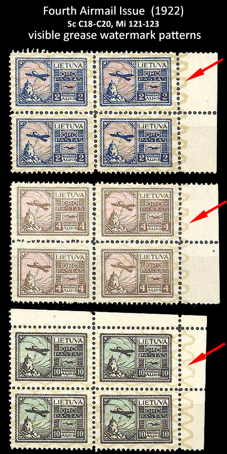 Lithuania 1922 4th airmail isseu fakes wmks
