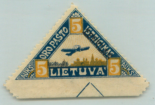 Lithuania 1922 3rd air post Mi-120 fantail bottom yellow arcs