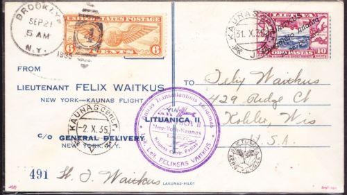 Lithuania 1935 Vaitkus transatlantic cover