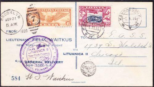 Vaitkus 1935 transatlantic cover