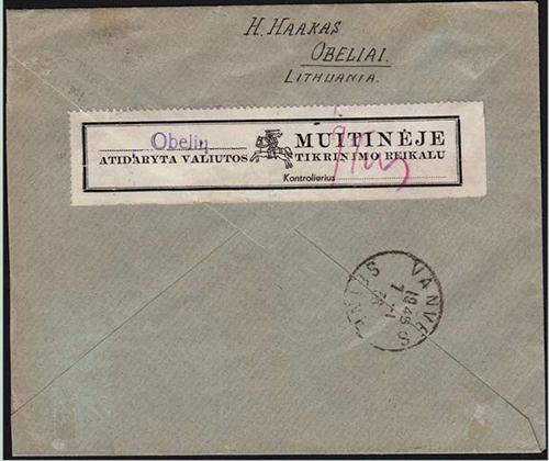 LT-1938 Obeliai customs label