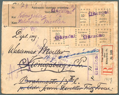 Lithuania 1919 Gargzdai provisional registration