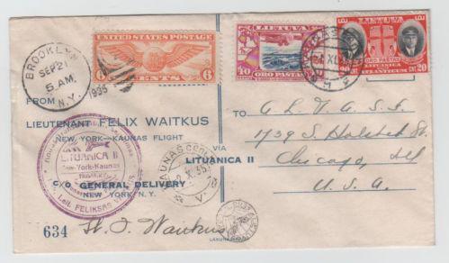 Lithuania 1935 Vaitkus Flight cover No 634