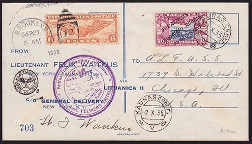 Lithuania 1935 Vaitkus Flight cover No 703