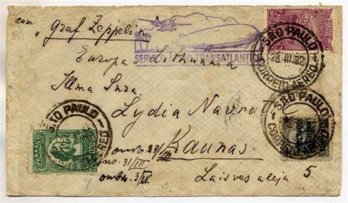 Brazil 1932 Zeppelin cover San-Paolo Kaunas