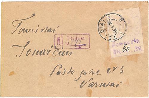 Lithuania-1920 Telsiai reg 342