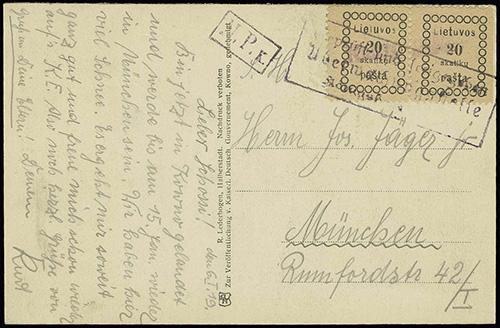 Lithuania 1918 Kaunas Pastas straight-liner