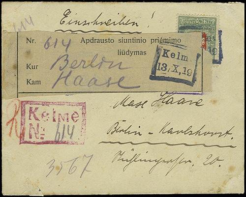 Kelme 1919 box cachet provisional reg 614