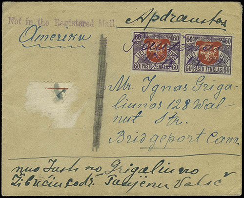 Taujenai 1919 MS cancellation cover to Connecticut
