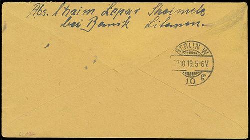 Zeimelis 1919 reg cover to Berlin