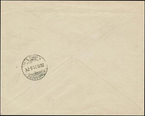 Tytavenai 1921 reg cover to Iglau