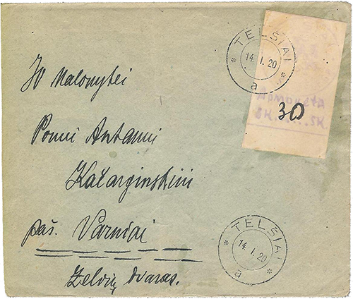 Telsiai 1920 cover 30 sk