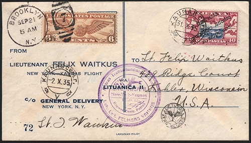 Lithuania 1935 Vaitkus cover No 72