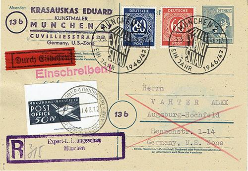 Augsburg-Hochfeld DP camp mail