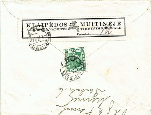 LT-1939 Klaipeda customs label