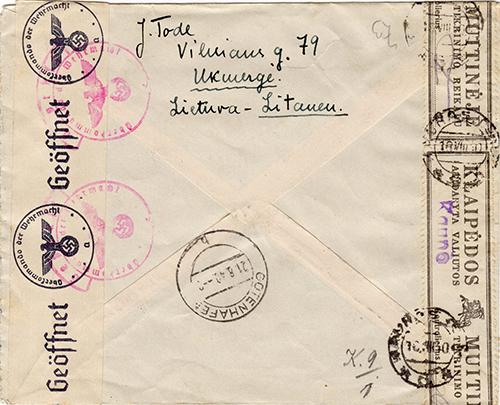 LT-1940 Klaipeda Kaunas customs overprint