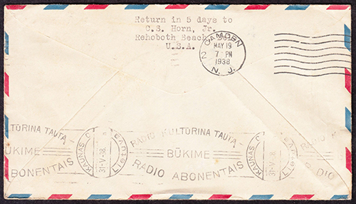 Kaunas 1938 Retour Inconnu cachet applied at Kaunas Central post office