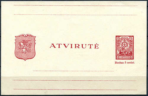 LT-1924 postal card Mi P1 15c maroon miscut