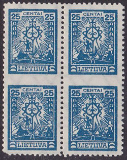 LT-1923 block-4 vertically imperforate between Mi 213