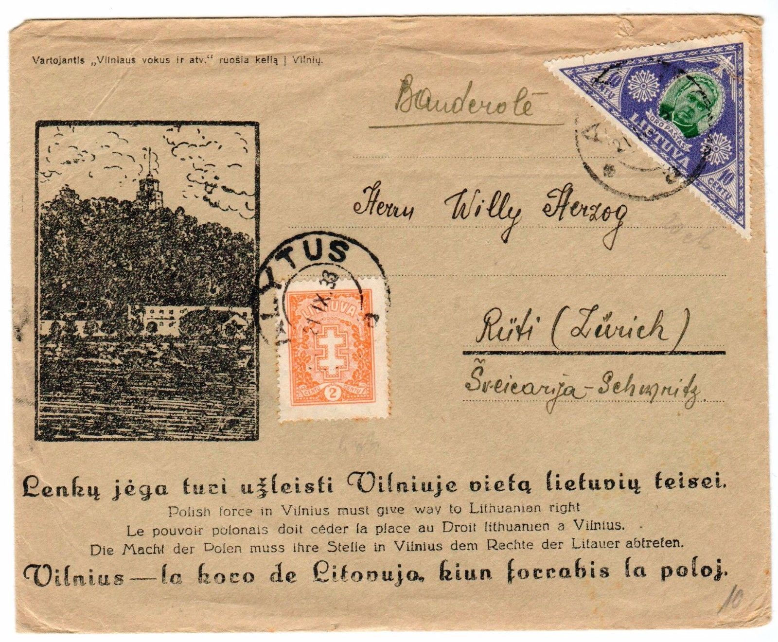 Lithuania 1933 patriotic cover