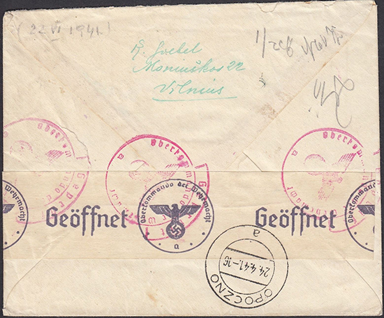 LT-1941 Vilnius Opoczno registered cover Soviet stamps
