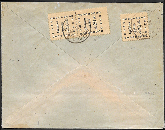 LT-1919 Kaunas Berlin franked 3x 20 sk
