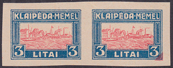 LT-1923 Klaipeda Harbor issue essay blue-red 3L