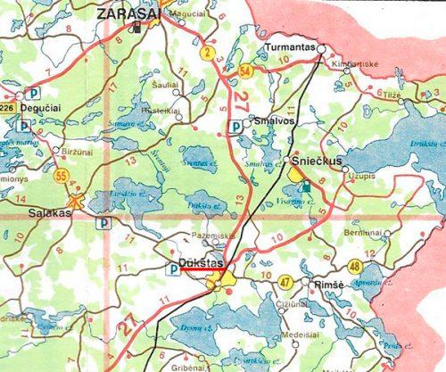 Map of Dukstas Zarasai Apskritis