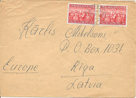 Alsedziai  cover to Riga 1940