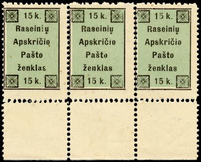 Raseiniai first printing positions 2-4