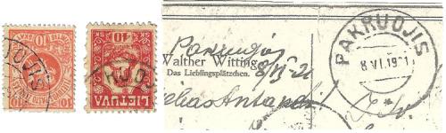 Pakruojis 1919 postal markings