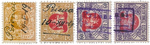 Prienai 1919 various cancellations on Second Berlin Issue