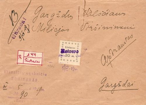 Rietavas registered cover 1919