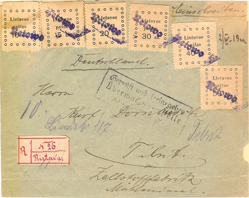 Rietavas 1919 cancelling by Gothic one-liner