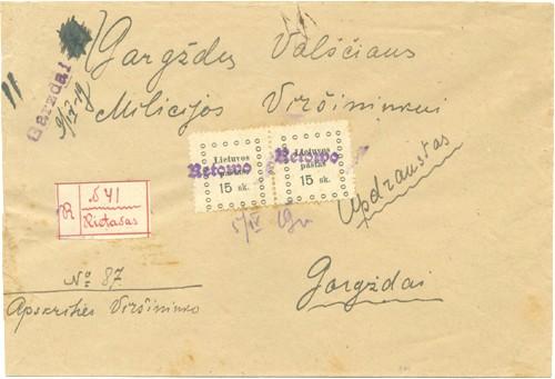 """Rietavas 1919 a Gothic one-line cachet """"Retowo"""""""