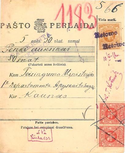 Rietavas 1919 money order