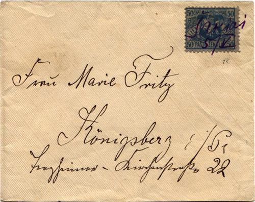 Sakiai 1919 manuscript cancel