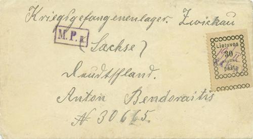 Sakiai 1919 a makeshift one-line rubber cachet